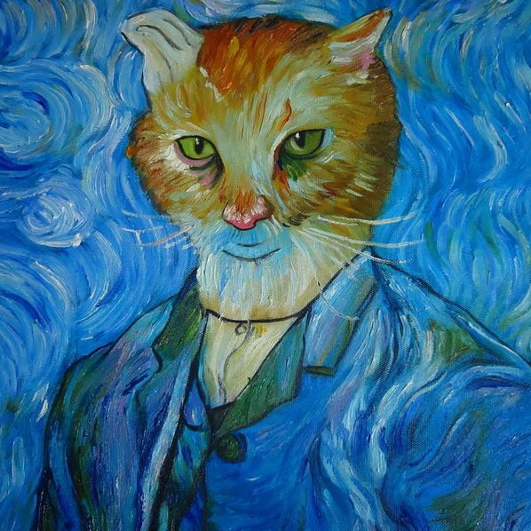 van gogh cat painting splendid beast portrait feline rescue donation