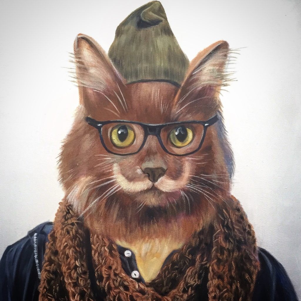 Cat Paining, Hipster Art, Cat in Glasses, Funny Painting