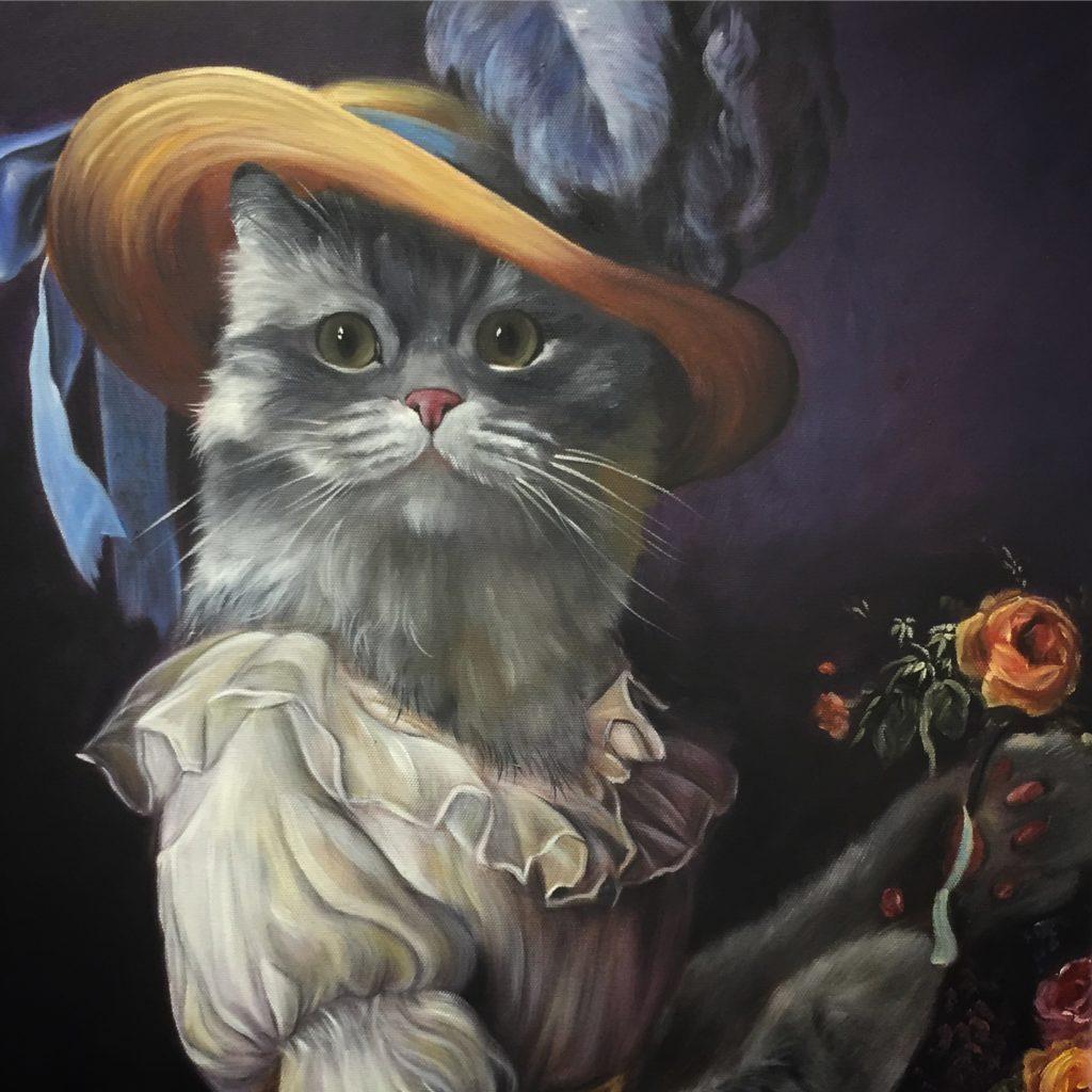 cat painting, marie antoinette cat, let them eat cake painting, fancy cat painting