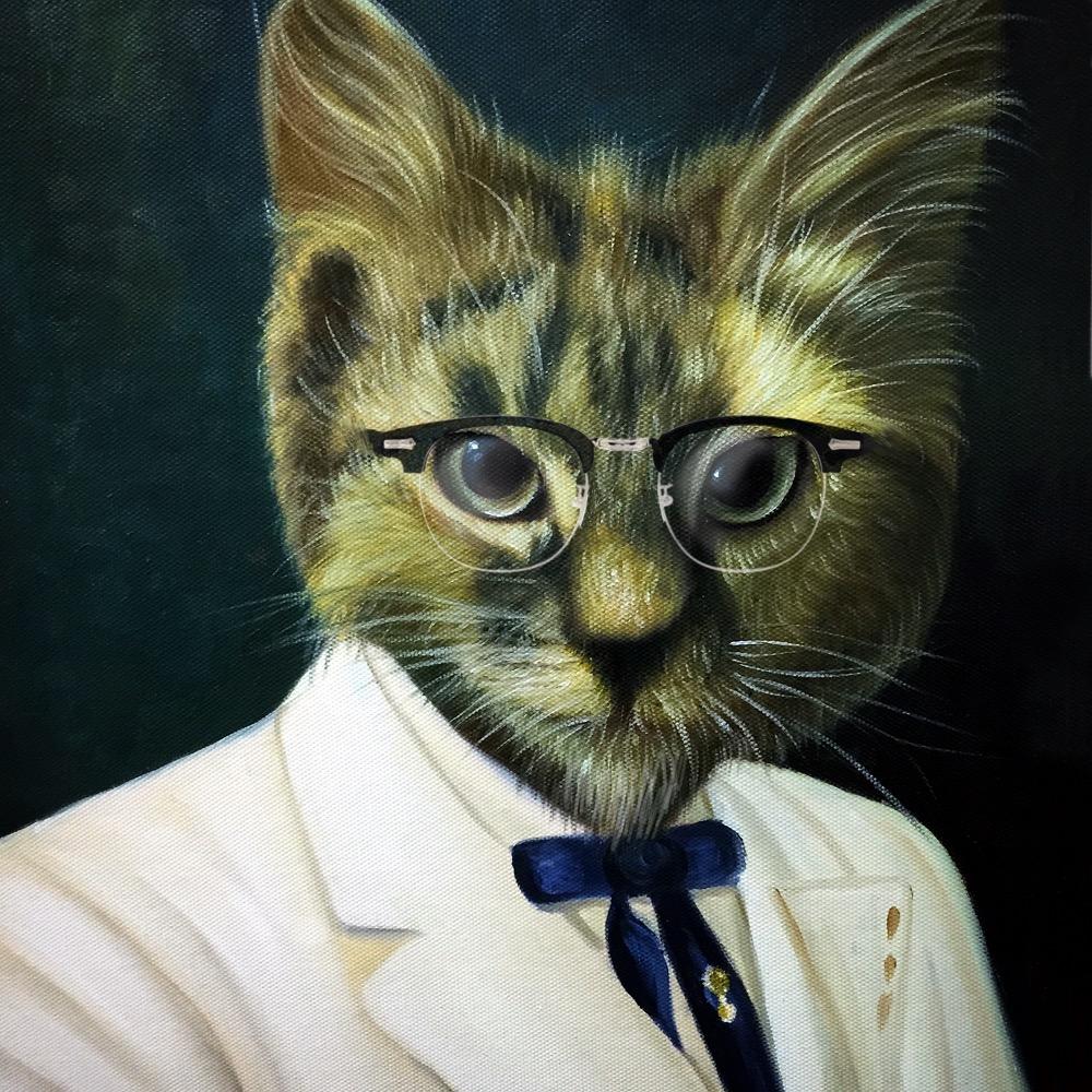 Cat Painting, Custom Pet Portrait, Painted Cat, Funny Paintings, Paint Your Pet