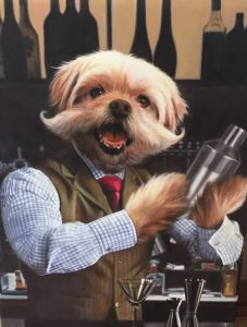 Splendid Beast Bartender Dog Oil Painting