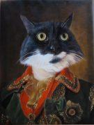 Splendid Beast Czar oil portrait template with cat