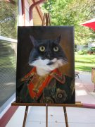 Cat painted as a czar oil painting on easel