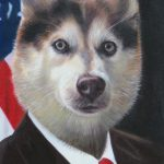 Patriotic Dog Painting USA flag
