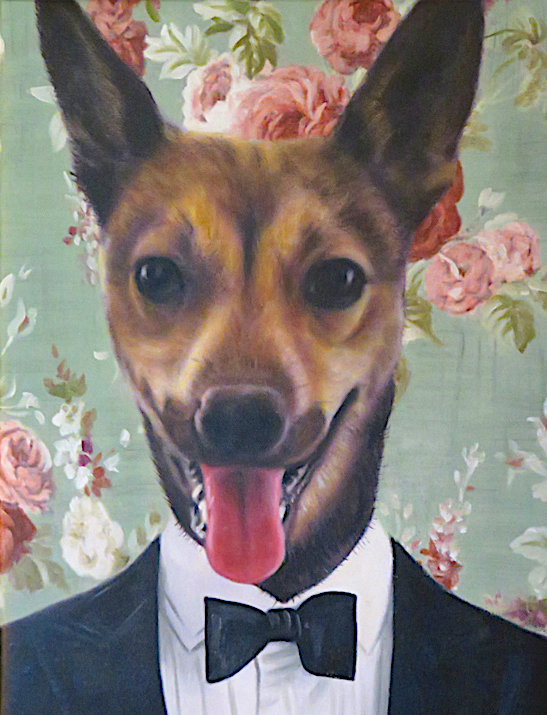 Dog in Tuxedo Oil Portrait
