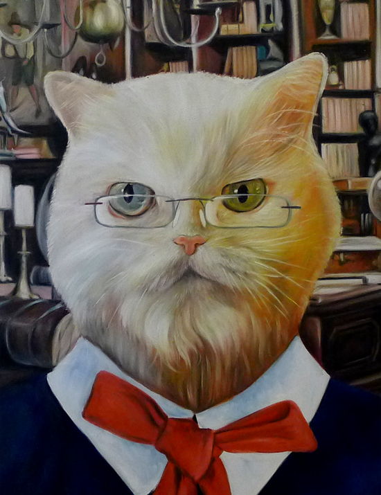 librarian cat oil painting