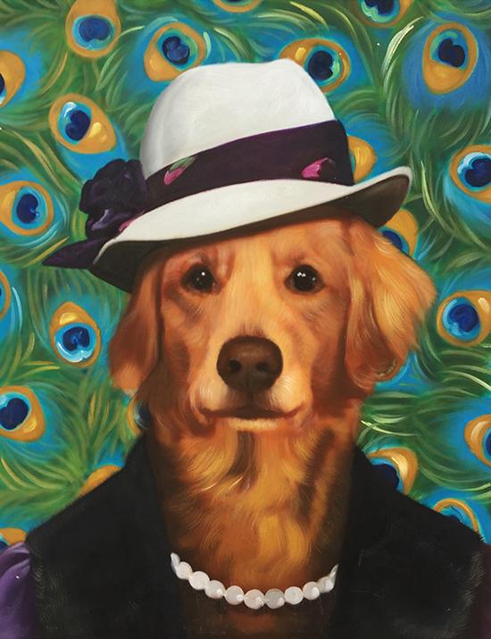 peacock dog painting splendid beast