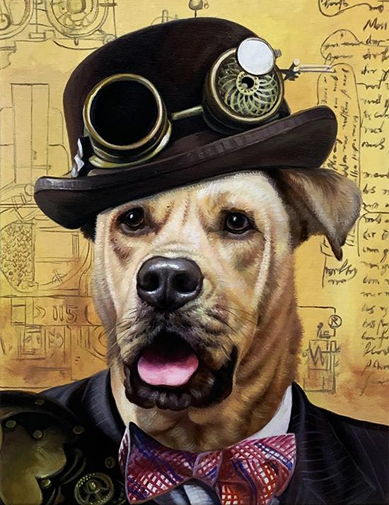 steampunk artwork dog