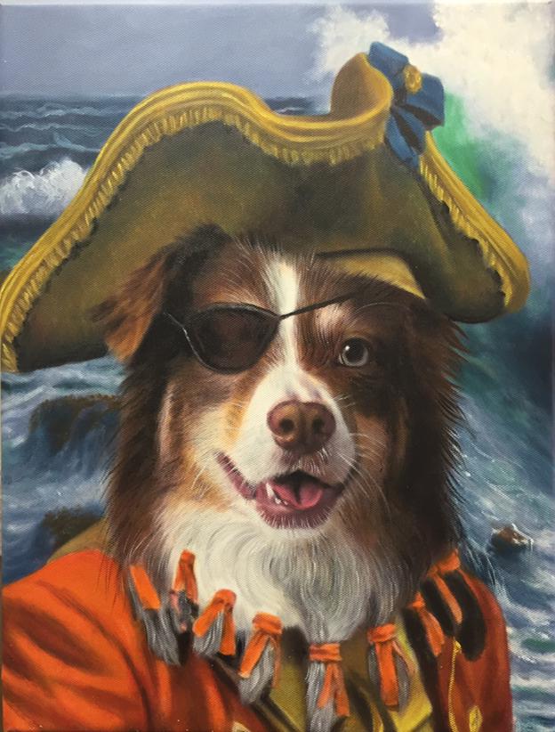 Dog Art Oil Painting Pirate from Splendid Beast