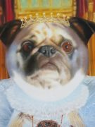 Little dog painted as a Queen