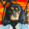 Dog Painting Miami Background Scarface