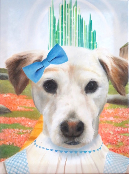Dog painted as Dorothy from Wizard of Oz
