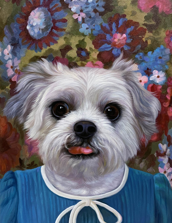 flower girl dog splendid beast pet painting