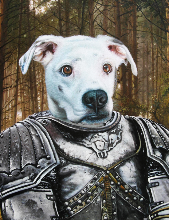 knight painting splendid beast pet portraits
