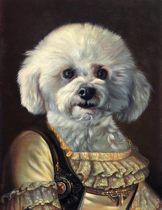 maiden painting white dog splendid beast