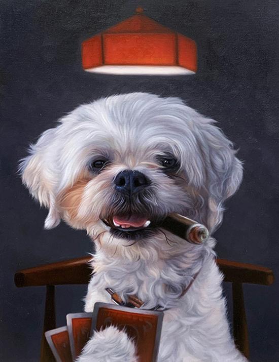 poker design dog painting splendid beast