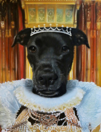 queen black dog custom oil painting