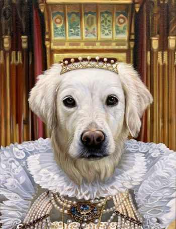 queen painting white dog splendid beast