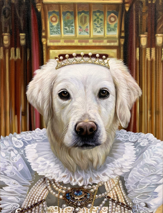 queen painting white dog splendid beast