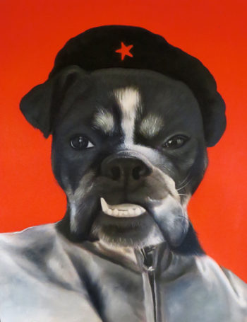 revolutionary dog custom oil painting