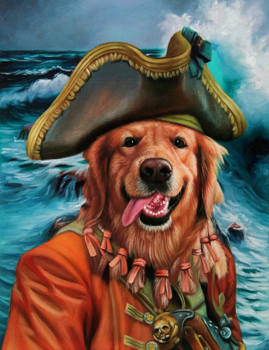 the pirate splendid beast design dog painting