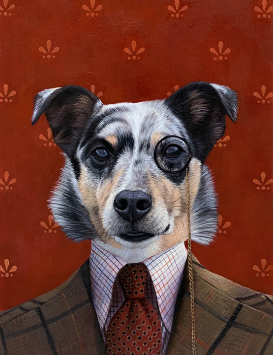 the professor dog oil painting splendid beast