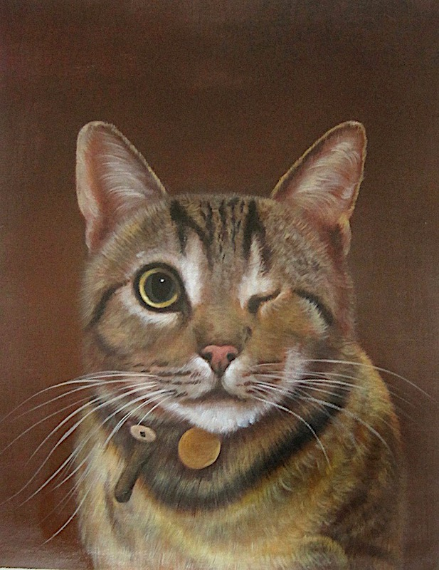 Painting of One Eyed Cat with Brown Background by Splendid Beast