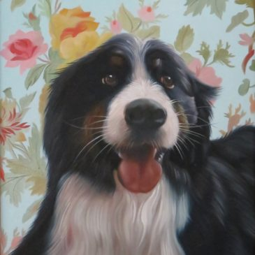 Dog oil painting portrait with floral background