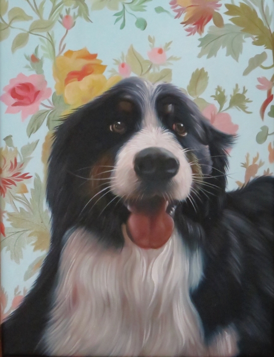 Dog with Floral Background