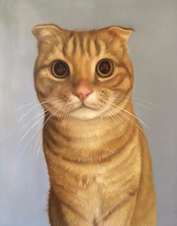 Tabby Cat Oil Painting Portrait by Splendid Beast