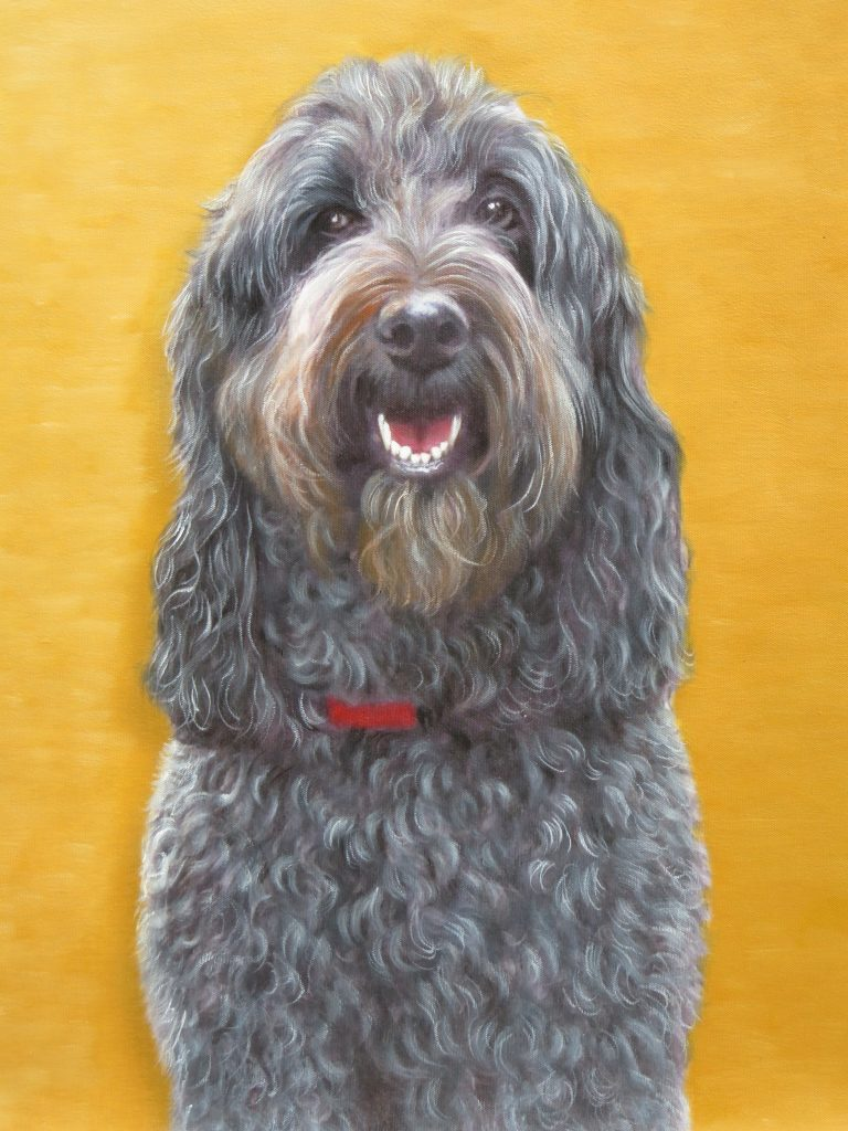 Dog Painting With Gold Background Customized Pet Portrait