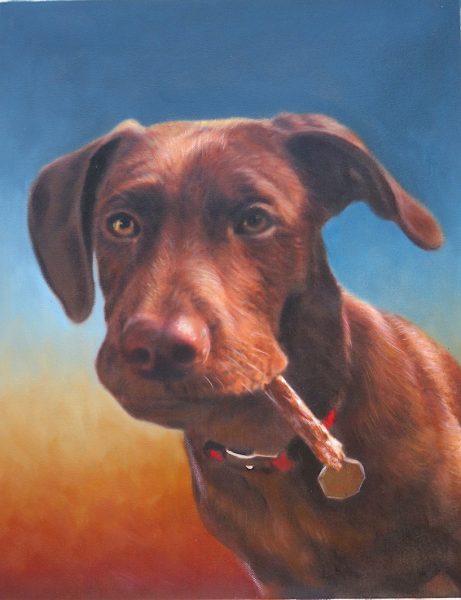 Dog Painting No Costume Sunset Background