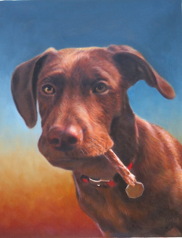 Dog Painting No Costume Sunset Background