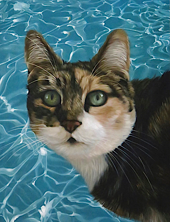 Cat Oil Painting in front of swimming pool