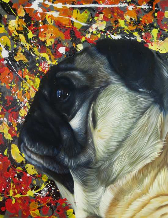 modern painting pug portrait splendid beast