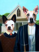 Two Dogs in American Gothic Oil Painting