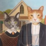 Cat Portrait American Gothic 2 Cats