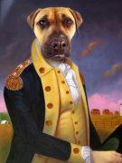 Colonial Dog Portrait George Washington Painting