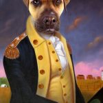 Colonial Dog Portrait George Washington Painting