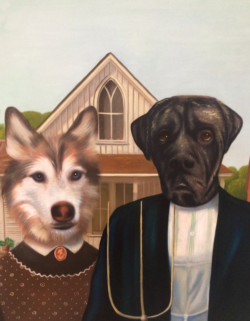 Portrait of two dogs in the classic American Gothic oil painting