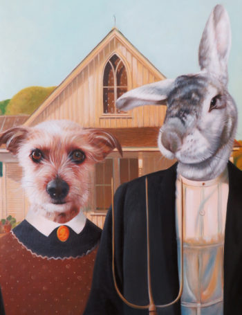 american gothic dog and rabbit oil painting