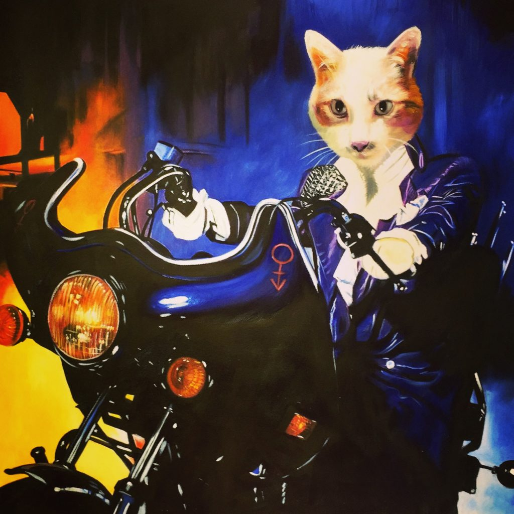 Cat Painting, Cat Portrait, Purple Rain, Prince