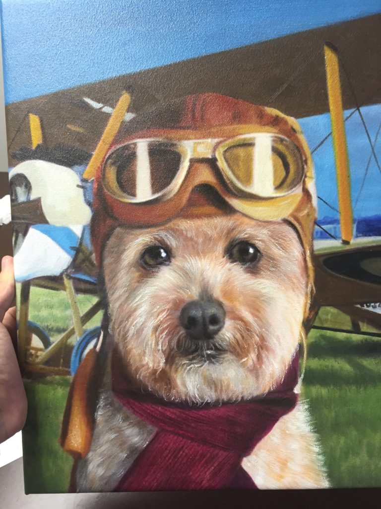 Custom Pet Portrait, Funny Painting, Dog Sketch, Animal Portrait, Airplane Dog, Dog with Goggles