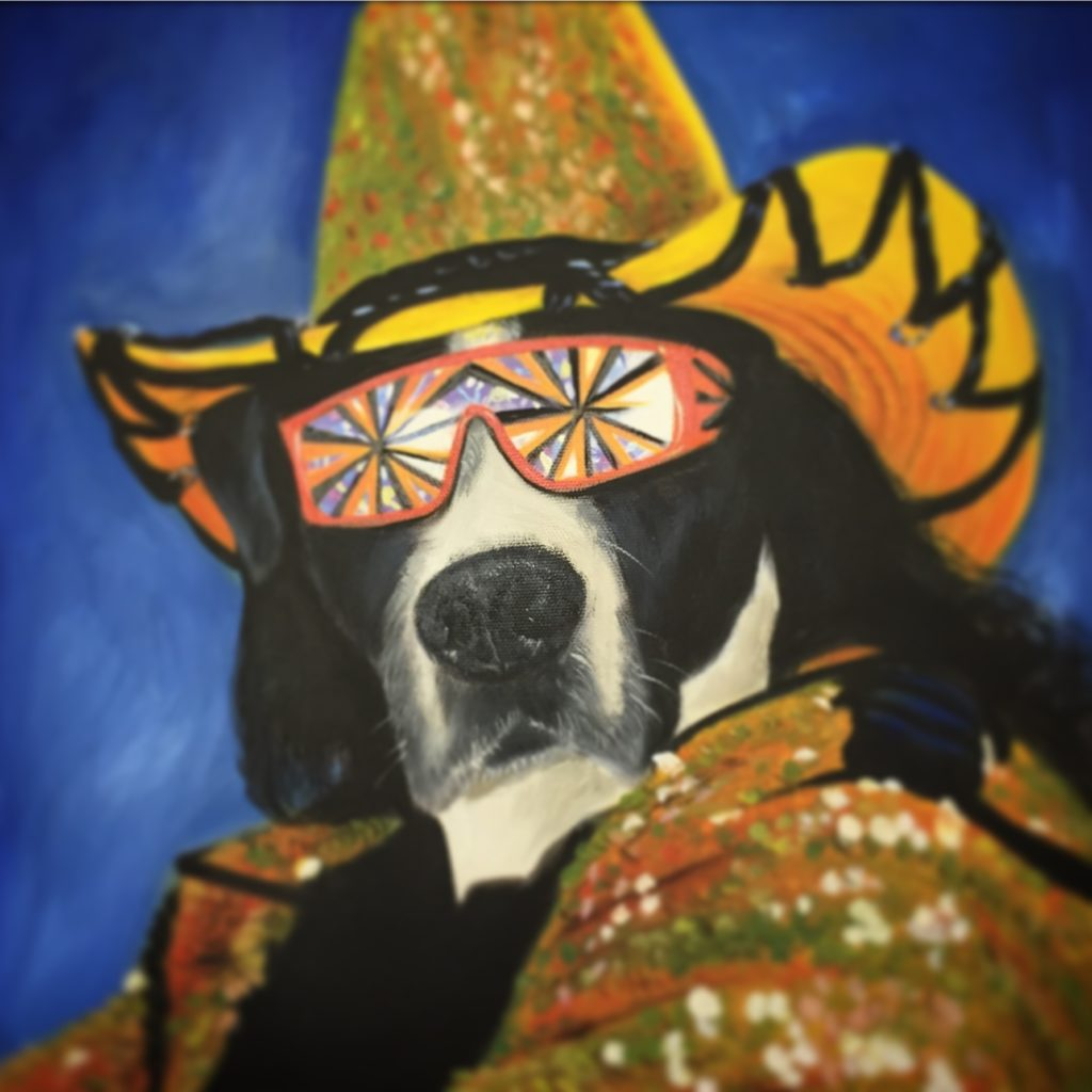 Dog Painting, Custom Pet Portrait, Funny Painting, Dog Art, Animal Painting, Macho Man Randy Savage