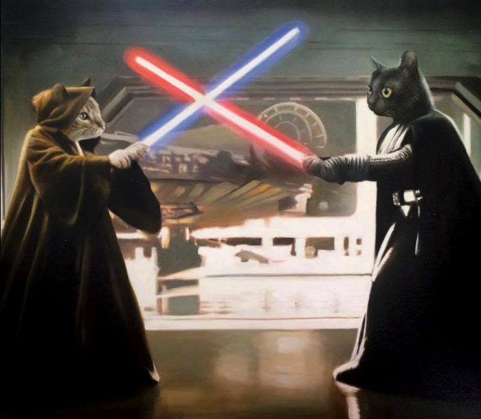 Animal painting - lightsaber duel - Splendid Beast