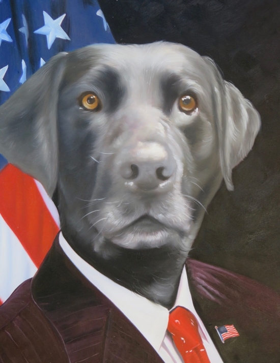 Dog painted as American President