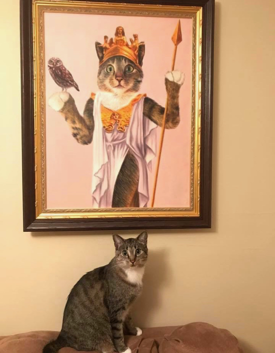 Cat sitting near its oil portrait as the goddess Athena