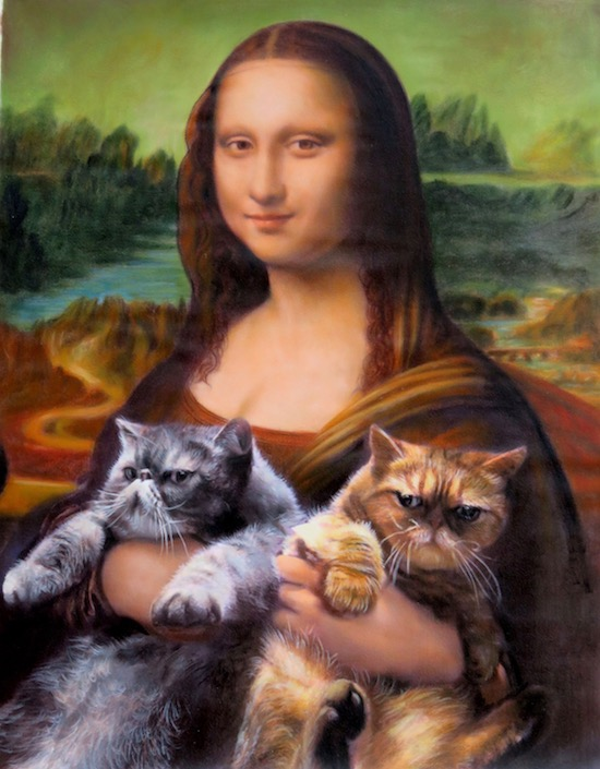 Two Cats in Mona Lisa's lap oil portrait by Splendid Beast
