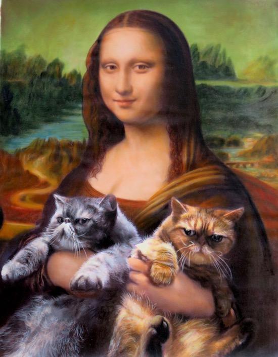 Two Cats in Mona Lisa's lap oil portrait by Splendid Beast