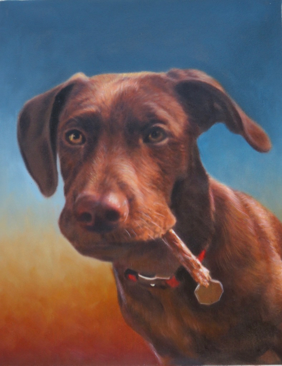 Dog with a bone painted on colorful background
